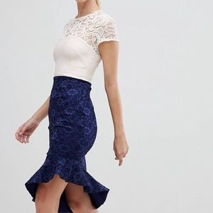 Lace Asymmetrical Blue & White Dress